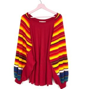 We The Free Bat wing thermal red sunburst top XL